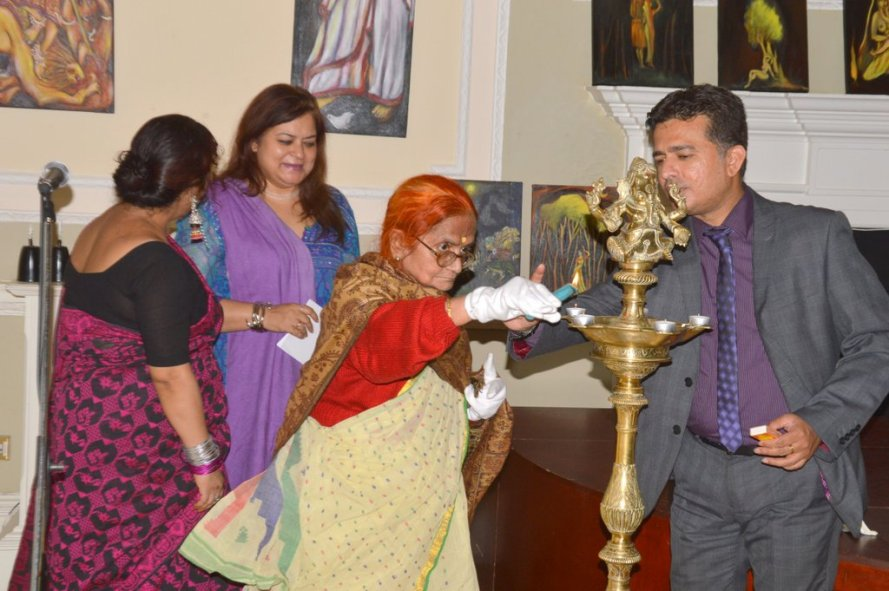 My Mother Namita Bhaduri inaugurating My Exhibition at Nehru Centre,London.JPG