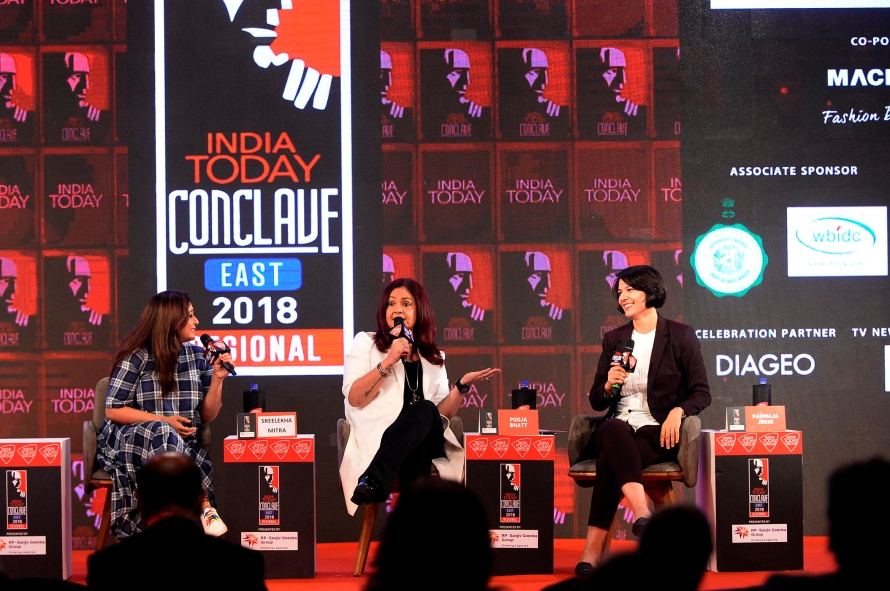 Shreelekha Mitra and Pooja Bhatt speaking at India Today Conclave east 2018.JPG